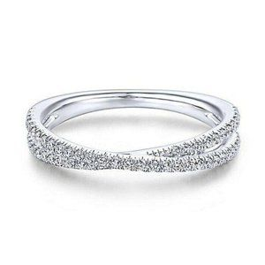 Crossover Woman CZ Wedding Ring  Band Size 8
